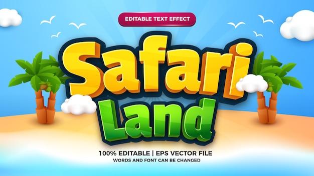 Safari land cartoon komiks edytowalny szablon stylu efektu tekstu
