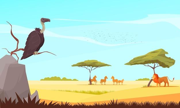Safari podróżuje dzikimi zwierzętami płaską ilustracją z sępem i lwem obserwującym pasące się zwierzęta