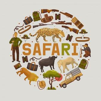 Safari polowania zestaw ilustracji wektorowych okrągłe wzory