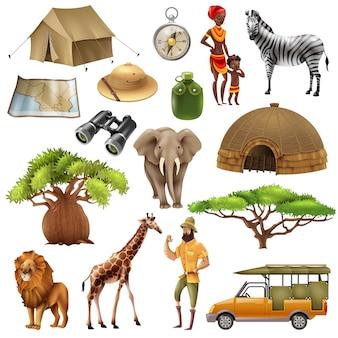 Safari ustaw zestaw ikon