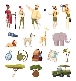 Safari w podróży. afrykańskie dzikie elementy przygodowe zwierzęta dżungli, samochody, kompas, opakowanie.