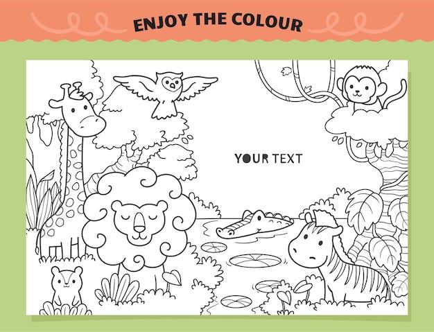 Safari zwierząt dzikich zwierząt kolorowanki dla dzieci
