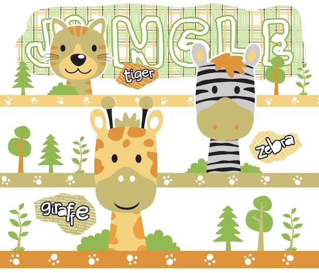 Safari zwierząt głowa kreskówka z drzew