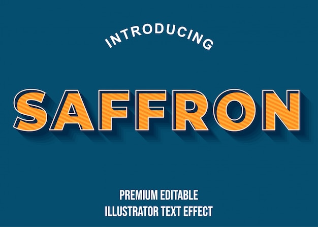 Safron - 3d pomarańczowo-niebieski tekstowy efekt czcionki styl