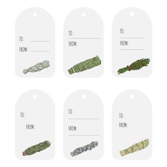Sage smudge sticks ręcznie rysowane zestaw tagów prezentowych. kolekcja wiązek ziół