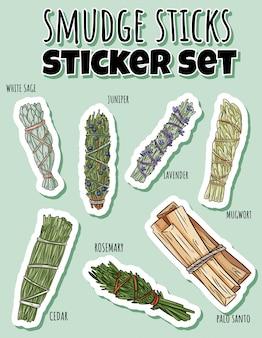 Sage smudge sticks zestaw ręcznie rysowane naklejki. kolekcja wiązek ziół