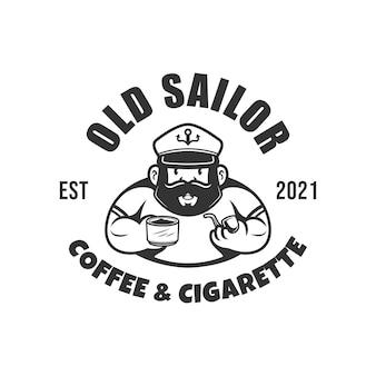 Sailor man vintage logo marynarz człowiek z fajką papierosa i filiżanką kawy czarno-biały wektor
