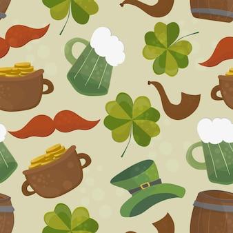 Saint patricks day bezszwowe tło z koniczyną i kapelusz na zielono - ilustracja wektorowa
