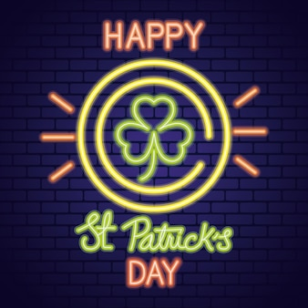 Saint patricks day neon light with clover in coin illustration