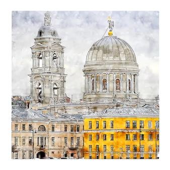 Saint petersburg rosja szkic akwarela ręcznie rysowane ilustracji