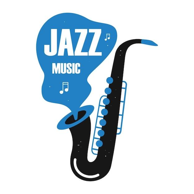 Saksofon z nutami ilustracji wektorowych instrument jazzowy z typografią