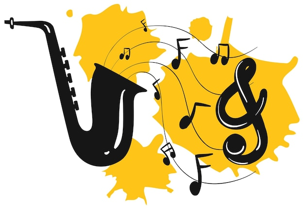 Saksofon z nutami w tle