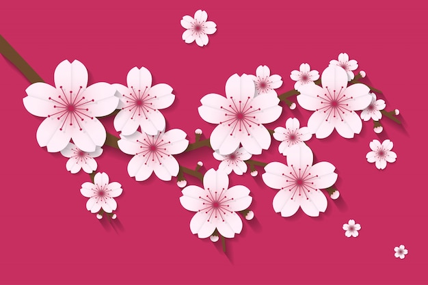 Sakura flower paper craft style vector vector