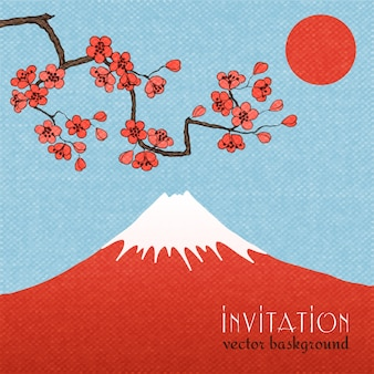 Sakura karta zaproszenie tło lub plakat