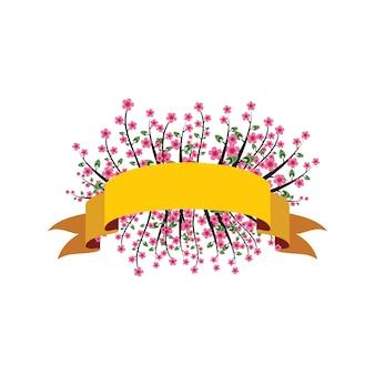 Sakura kwiat wiśniowy kwiat wstążka banner kwiatowy ozdobny