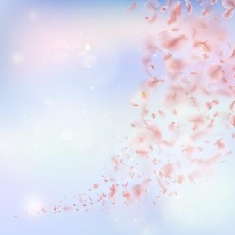 Sakura Leci Płatkami Z Wiatrem Na Wietrze. Premium Wektorów