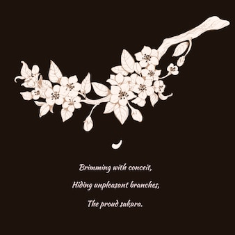 Sakura wiśniowa ilustracja na czerni
