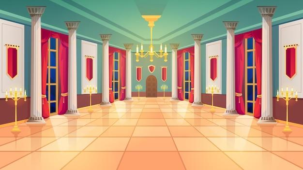 Sala balowa, sala średniowiecznego pałacu, wnętrze zamku królewskiego. królewska sala balowa z luksusowym wnętrzem, marmurowymi kolumnami i zasłonami, złotymi kandelabrami i lampami świecowymi