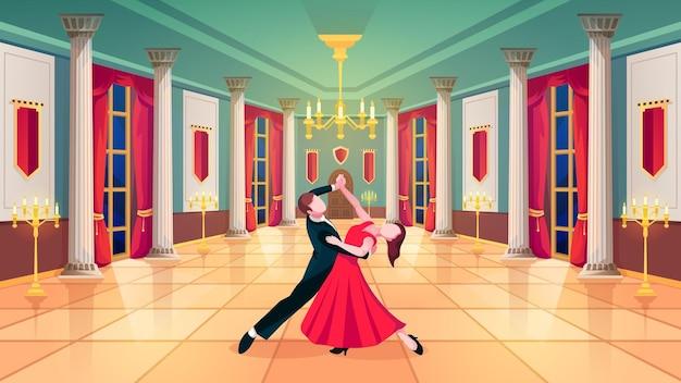 Sala balowa tancerze walca w sali pałacu królewskiego tło wektor mężczyzna i kobieta tańczą walca w