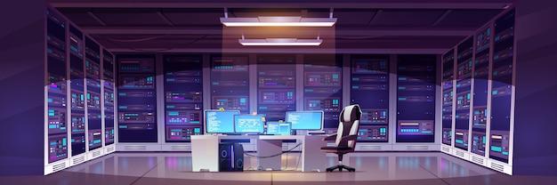 Sala centrum danych ze sprzętem serwerowym