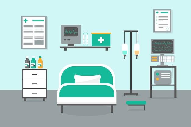 Sala intensywnej terapii z łóżkiem, oknem i sprzętem medycznym. ilustracja wnętrza szpitala izby przyjęć.