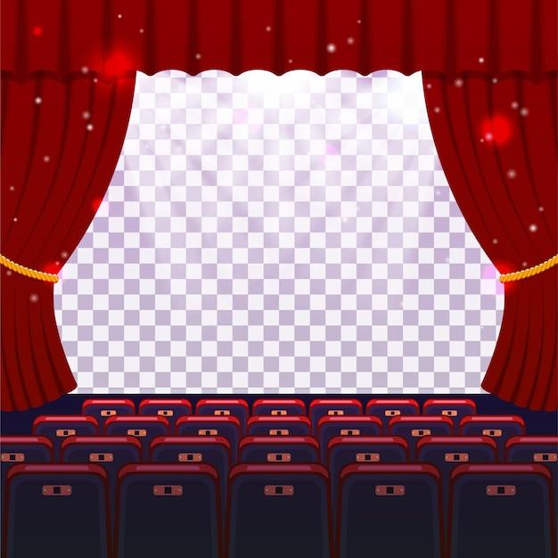 Sala kinowa z siedzeniami i przezroczystym ekranem