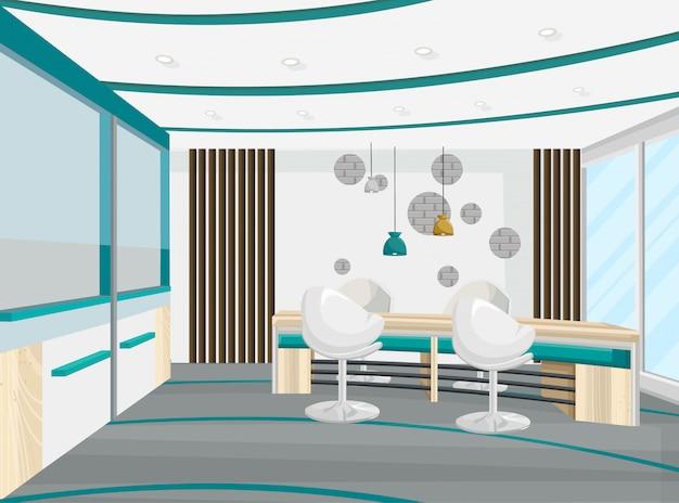 Sala konferencyjna biurka i krzesła. wnętrze centrum biznesowego, call center, banku lub centrum technologicznego