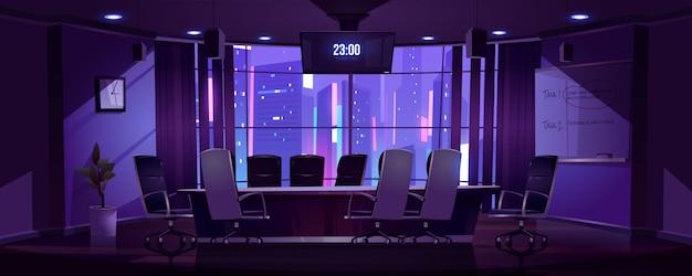 Sala konferencyjna do spotkań biznesowych w nocy