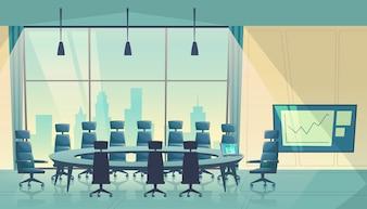 Sala konferencyjna na spotkanie, rada dyrektorów. Sala konferencyjna biznesu, proces pracy.