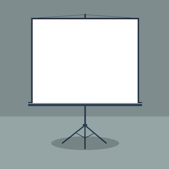 Sala konferencyjna ze stojącą białą deską. prezentacja biznesowa. ilustracji wektorowych