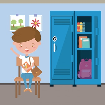 Sala lekcyjna i chłopiec w szkole