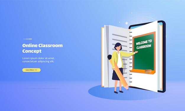 Sala lekcyjna online z koncepcją ilustracji e-booków