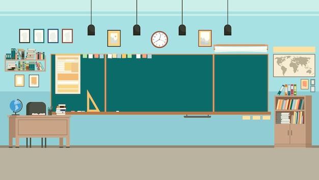 Sala lekcyjna z tablicą i biurkiem dla nauczycieli.