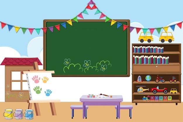 Sala lekcyjna z wyżywieniem i zabawkami
