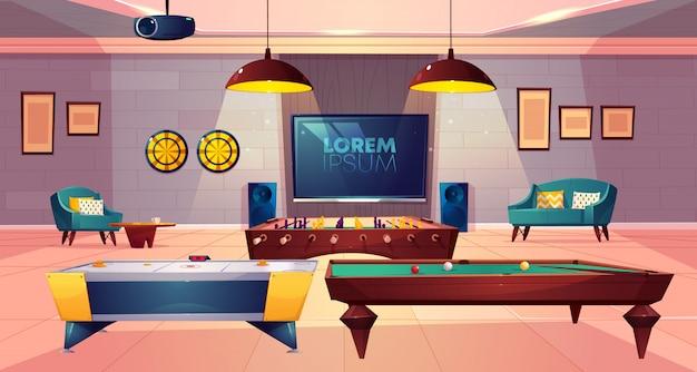Sala rekreacyjna do wypoczynku w piwnicy domu z miękkim fotelem i sofą, rzutkami i telewizorem na ścianie
