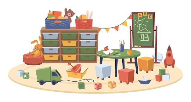 Sala szkolna projektowania wnętrz przedszkola wyizolowana sala z meblami i zabawkami dla dzieci