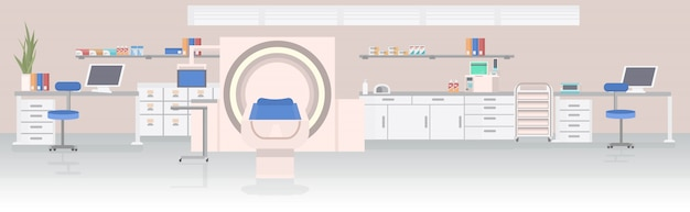 Sala szpitalna z rezonansem magnetycznym rezonansu magnetycznego urządzenie skanujące sprzęt medyczny pojęcie opieki zdrowotnej