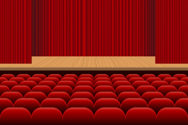Sala teatralna z rzędami czerwonych siedzeń, drewnianej sceny i czerwonej aksamitnej zasłony ilustraci