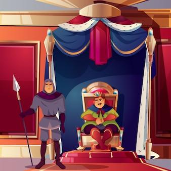 Sala tronowa z królem i jego surową strażą.