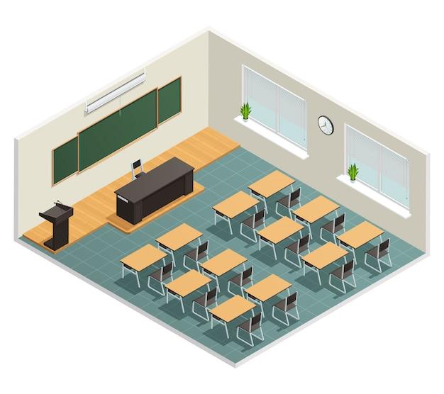 Sala wykładowa z dużymi biurkami kredowymi na ogromnym czarnym stole dla wykładowcy i trybuny