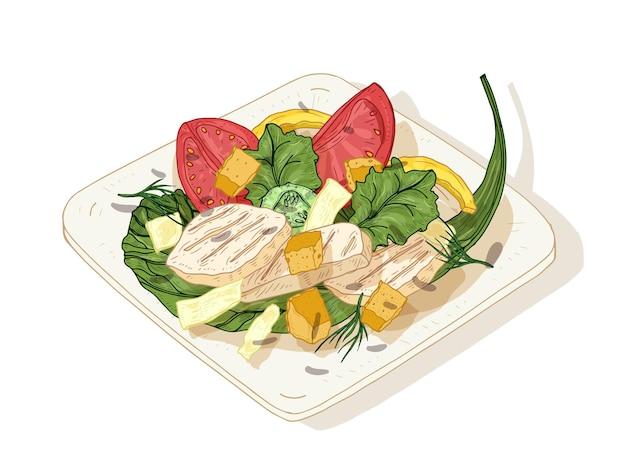 Sałatka cezar na talerzu na białym tle