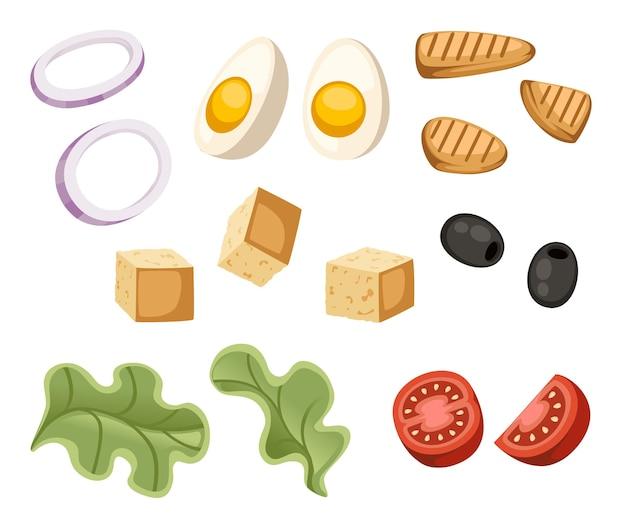 Sałatka cezar składnik świeże warzywa ikona kreskówka