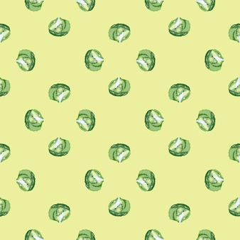 Sałatka lodowa wzór na beżowym tle. minimalizm ornament z sałatą. geometryczny szablon roślinny do tkaniny. projekt ilustracji wektorowych.