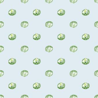 Sałatka lodowa wzór na niebieskim tle. minimalizm ornament z sałatą. geometryczny szablon roślinny do tkaniny. projekt ilustracji wektorowych.