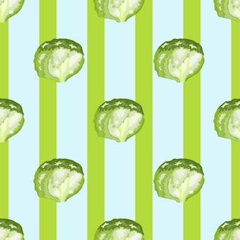 Sałatka lodowa wzór na tle paski. prosta ozdoba z sałatą. geometryczny szablon roślinny do tkaniny. projekt ilustracji wektorowych.