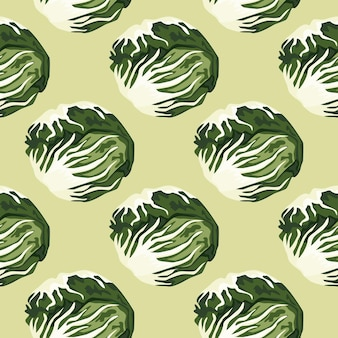 Sałatka radicchio wzór na pastelowym zielonym tle. nowoczesna ozdoba z sałatą. ukośny szablon roślinny do tkaniny. projekt ilustracji wektorowych.