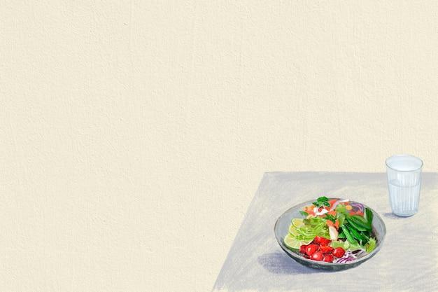 Sałatka tło zdrowe jedzenie kolorowa ilustracja ołówkiem