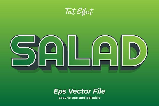 Sałatka z efektem tekstowym edytowalna i łatwa w użyciu wektor premium