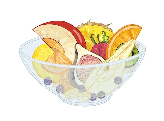 Sałatka z egzotycznych owoców tropikalnych w misce na białym tle
