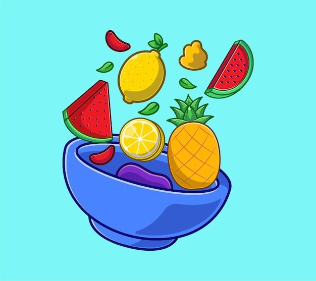 Sałatka z warzyw i owoców na kreskówce miska. płaska koncepcja światowego dnia jedzenia